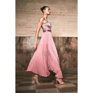 Alexis Bellona Pink Pleated Ruffle Long Dress XS